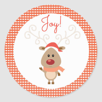 Reindeer and Red Gingham Christmas Round Sticker