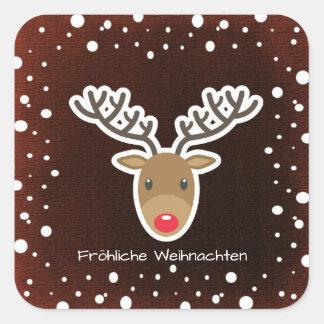 Reindeer And Snow On Red Fröhliche Weihnachten Square Sticker