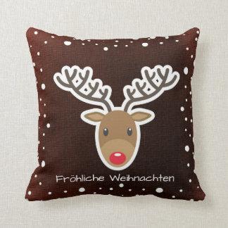 Reindeer And Snow On Red Fröhliche Weihnachten Throw Pillow