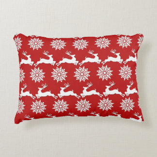 Reindeer and Snowflake Christmas Accent Pillow