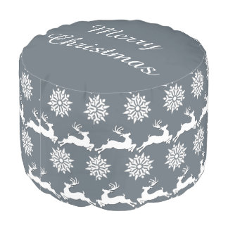 Reindeer and Snowflake Christmas Round Pouf