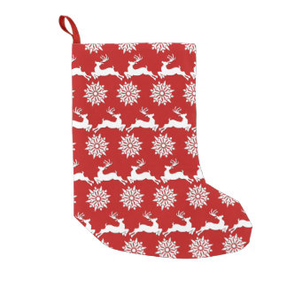 Reindeer and Snowflake Christmas Stocking Small Christmas Stocking