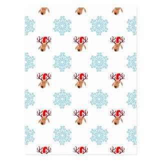 Reindeer and Snowflakes Postcard