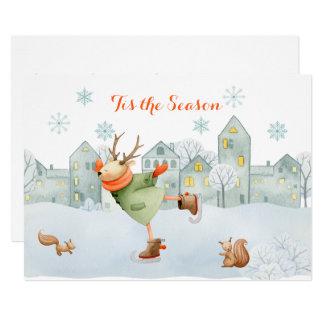 Reindeer and Squirrels Skating Rink Christmas | Card