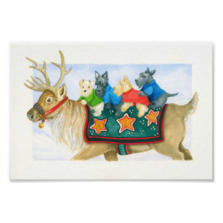 Reindeer and Terriers Poster