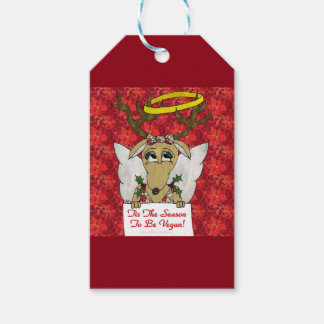 Reindeer Angel Tis The Season to Be Vegan Gift Tags