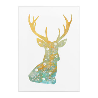 Reindeer Antler. Snowflakes. Winter. Art