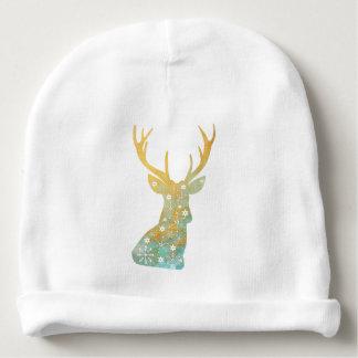 Reindeer Antler. Snowflakes. Winter. Art Baby Beanie