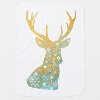 Reindeer Antler. Snowflakes. Winter. Art Baby Blanket