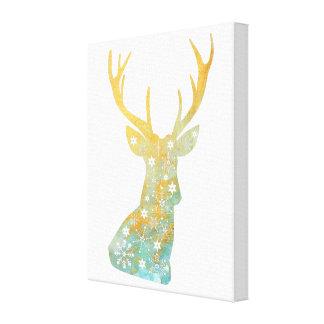 Reindeer Antler. Snowflakes. Winter. Art Canvas Print