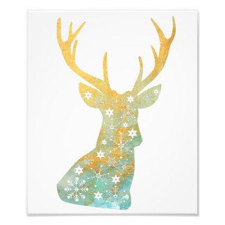 Reindeer Antler. Snowflakes. Winter. Art Photo Print
