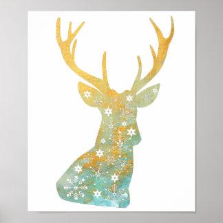 Reindeer Antler. Snowflakes. Winter. Art Poster