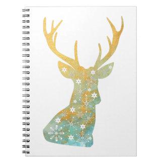 Reindeer Antler. Snowflakes. Winter. Art Spiral Notebook