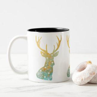 Reindeer Antler. Snowflakes. Winter. Art Two-Tone Coffee Mug