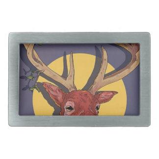 Reindeer Antlers Christmas Rectangular Belt Buckle