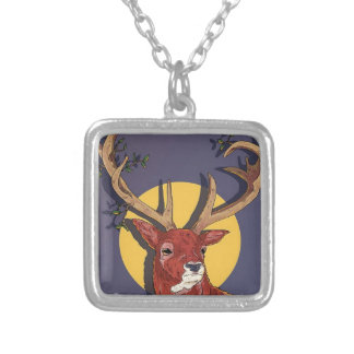 Reindeer Antlers Christmas Silver Plated Necklace