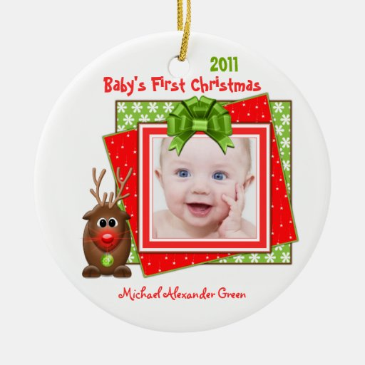 Reindeer Baby's First Christmas Photo Ornament