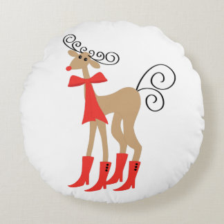 Reindeer Boots Holiday Christmas Round Pillow
