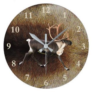 Reindeer - Bull Caribou Large Clock