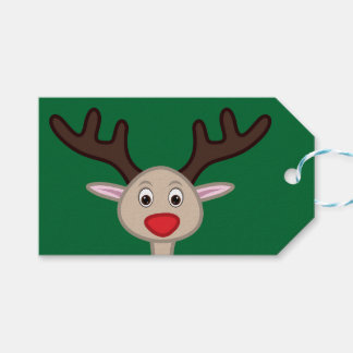 Reindeer cartoon character pack of gift tags