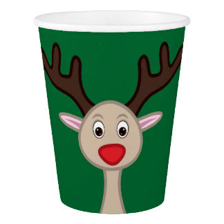 Reindeer cartoon character paper cup