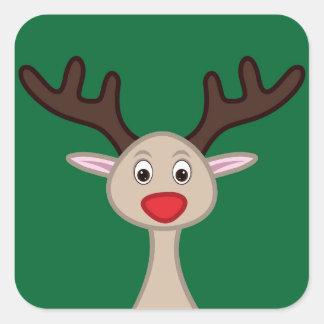Reindeer cartoon character square sticker