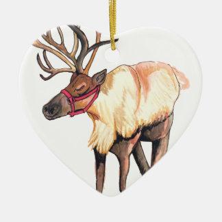 Reindeer Ceramic Heart Ornament