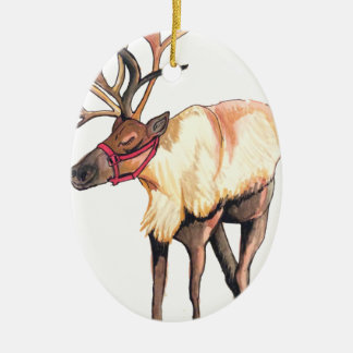 Reindeer Ceramic Oval Ornament