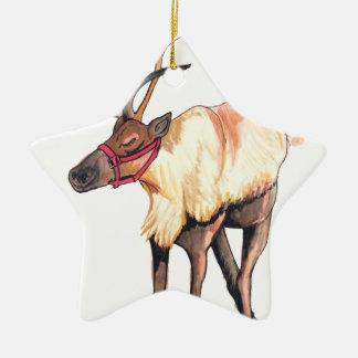 Reindeer Ceramic Star Ornament