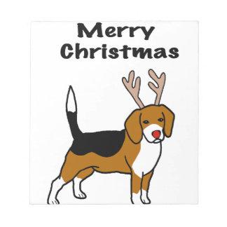 Reindeer Christmas Beagle Notepad
