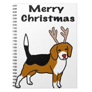 Reindeer Christmas Beagle Spiral Notebook