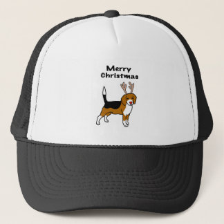 Reindeer Christmas Beagle Trucker Hat
