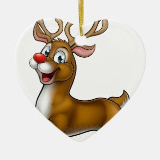 Reindeer Christmas Cartoon Character Ceramic Heart Ornament
