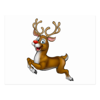 Reindeer Christmas Cartoon Character Postcard