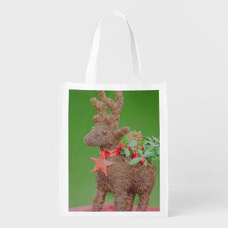 Reindeer Christmas decoration Reusable Grocery Bag