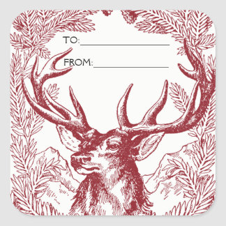 Reindeer Christmas Gift Tag Srickers