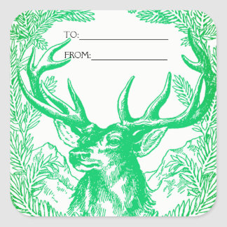 Reindeer Christmas Gift Tag Sticker