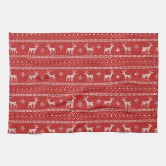 Reindeer Christmas Jumper Pattern Red White Kitchen Towel