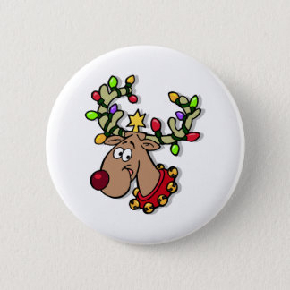 Reindeer Christmas Lights 2 Inch Round Button