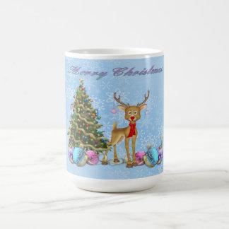 Reindeer Christmas Tree Christmas Bulbs Coffee Mug