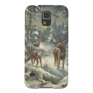 Reindeer Christmas Tree Evergreen Forest Snow Galaxy S5 Cases