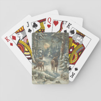 Reindeer Christmas Tree Evergreen Forest Snow Playing Cards
