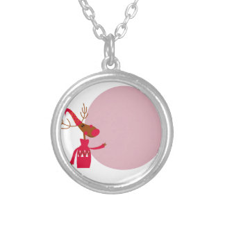 Reindeer cute animal xmas silver plated necklace