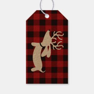 Reindeer Dachshund Christmas Gift Tag on Plaid