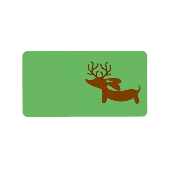 Reindeer Dachshund Christmas Gift Tag Stickers