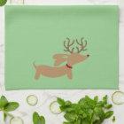 Reindeer Dachshund Christmas Green Dish Towel