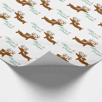 Reindeer Dachshund Merry & Bright Wrapping Paper
