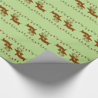Reindeer Dachshund on Green Wrapping Paper