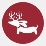 Reindeer Dachshund Wiener Dog Envelope Seal Round Sticker