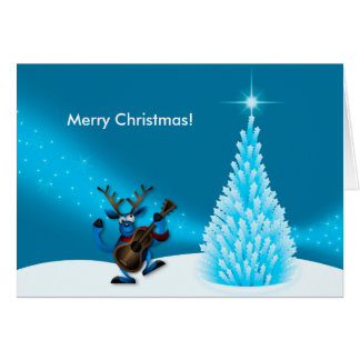 Reindeer Dancing Guitar Merry Christmas Tree Blue Card